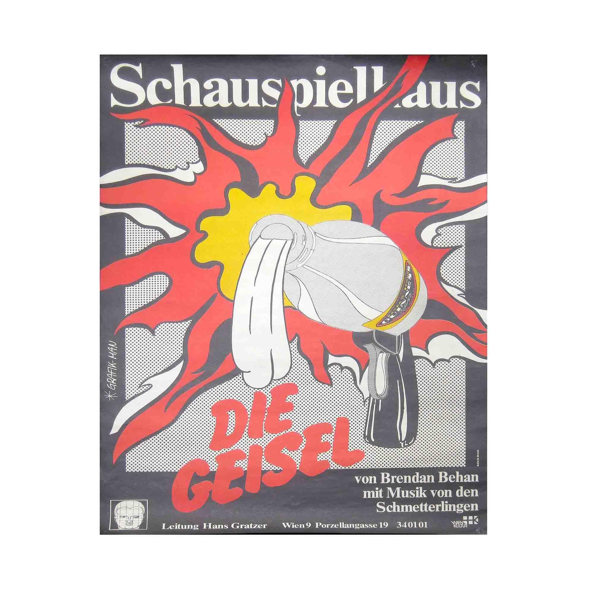 8051 Plakat Grafik-Man Behan Geisel Schauspielhaus 1981 N