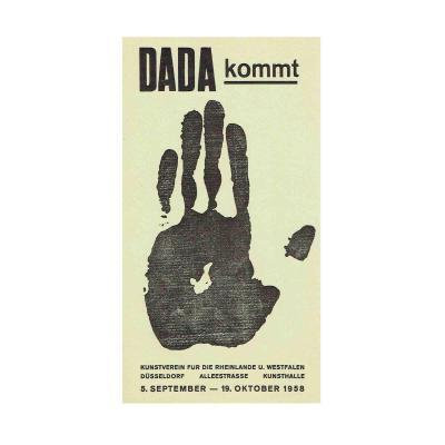 Plakat Ausstellung Dada kommt 1958 gelb