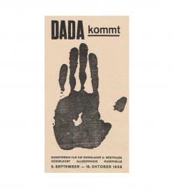 Plakat Ausstellung Dada kommt 1958 lachsfarben