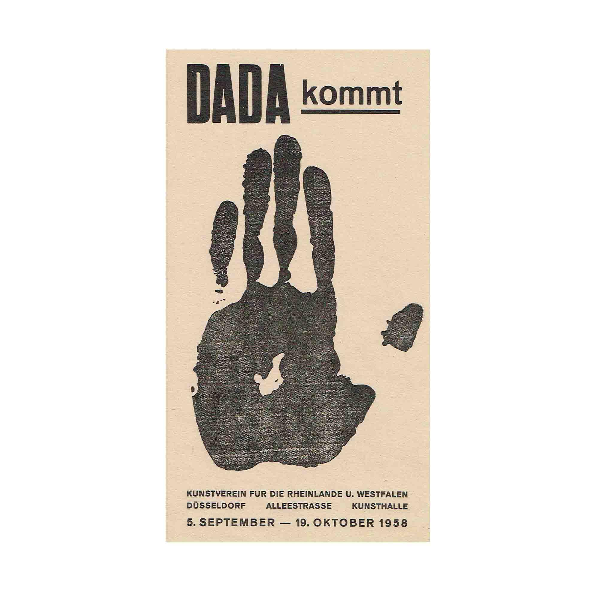 5188 Plakat Ausstellung Dada kommt 1958 lachsfarben N