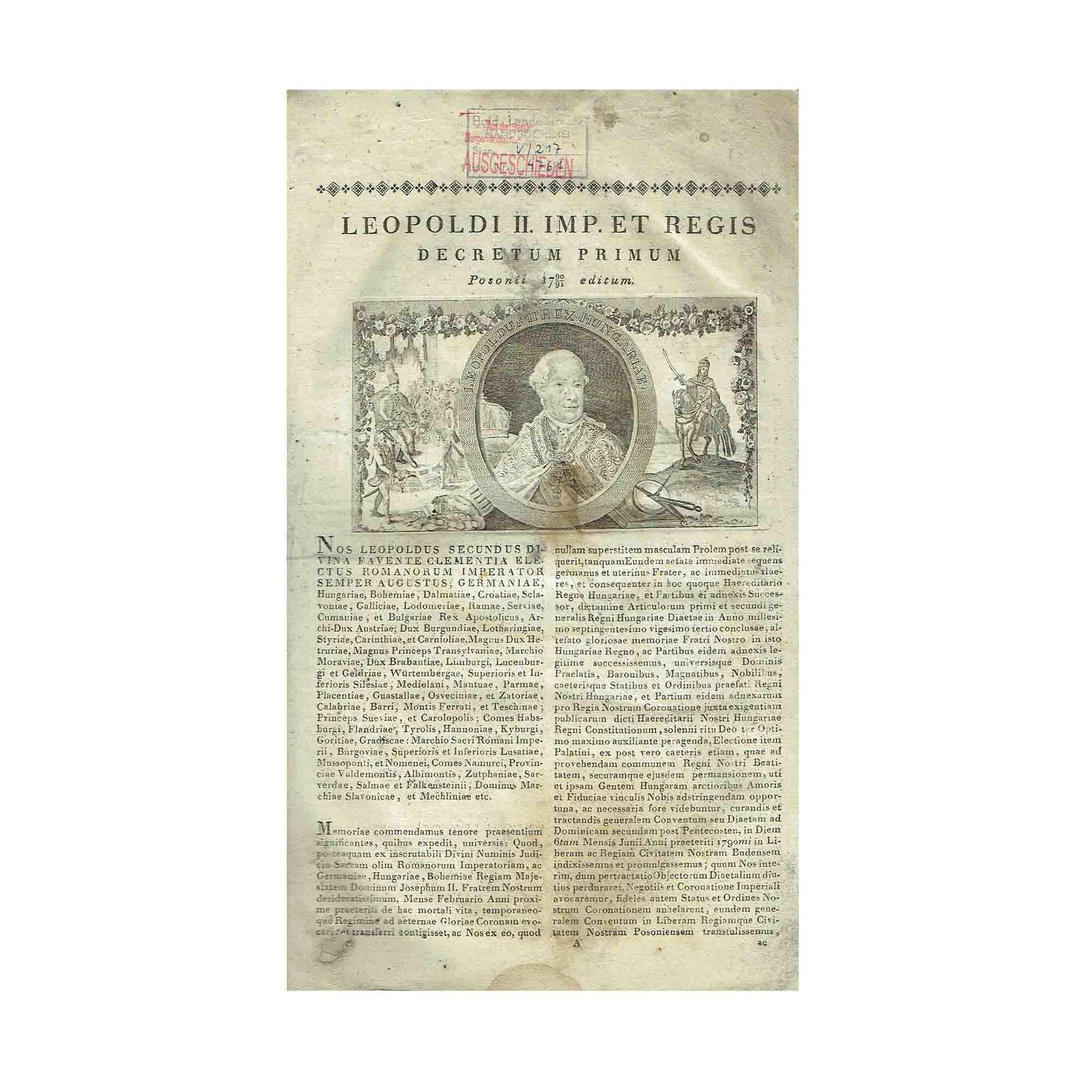 5336 Leopold II Franz II Articuli Decretales 1790 1812 1 N