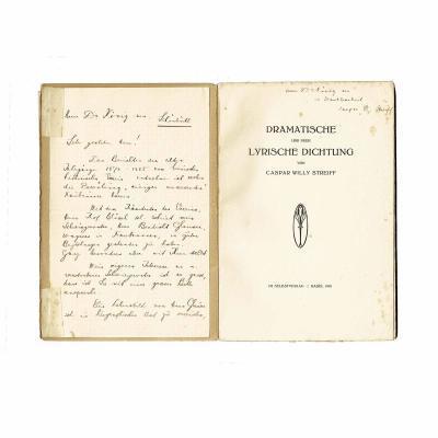 Streiff Gedichte Brief Widmung 1918 Brief Widm Titel