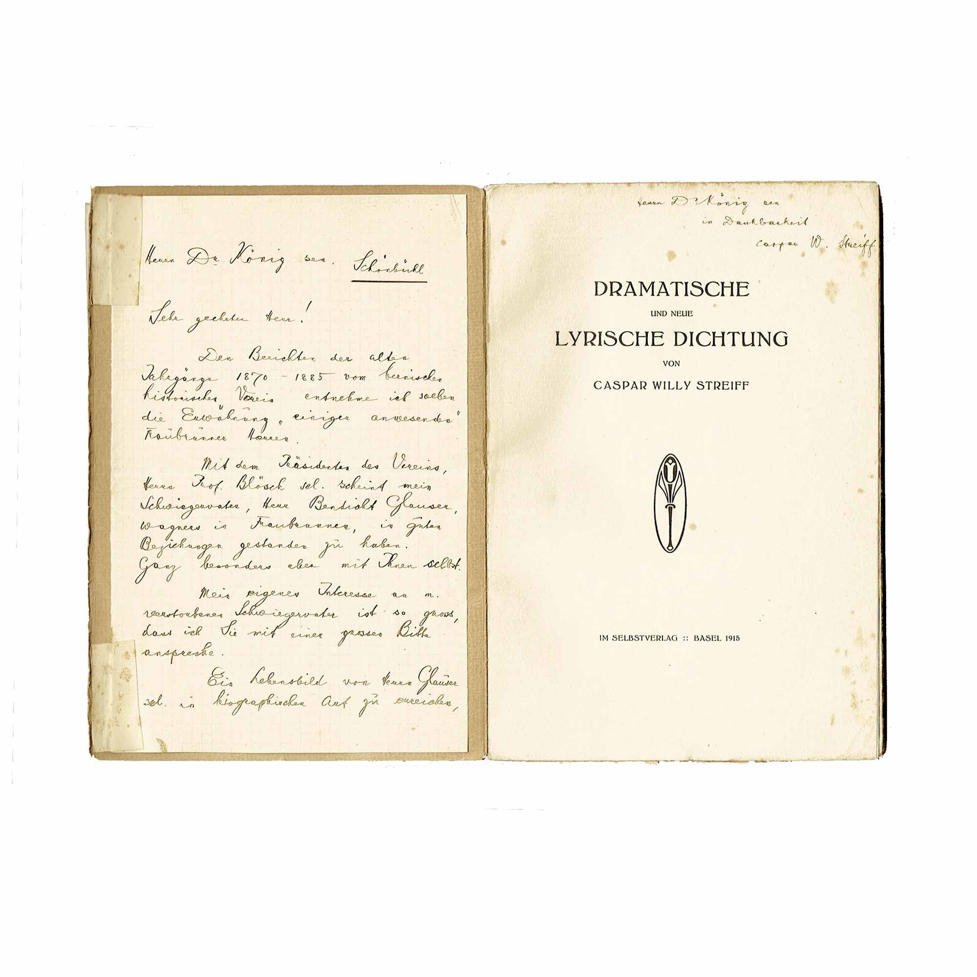 1094 Streiff Gedichte Brief Widmung 1918 Brief Widm Titel frei N