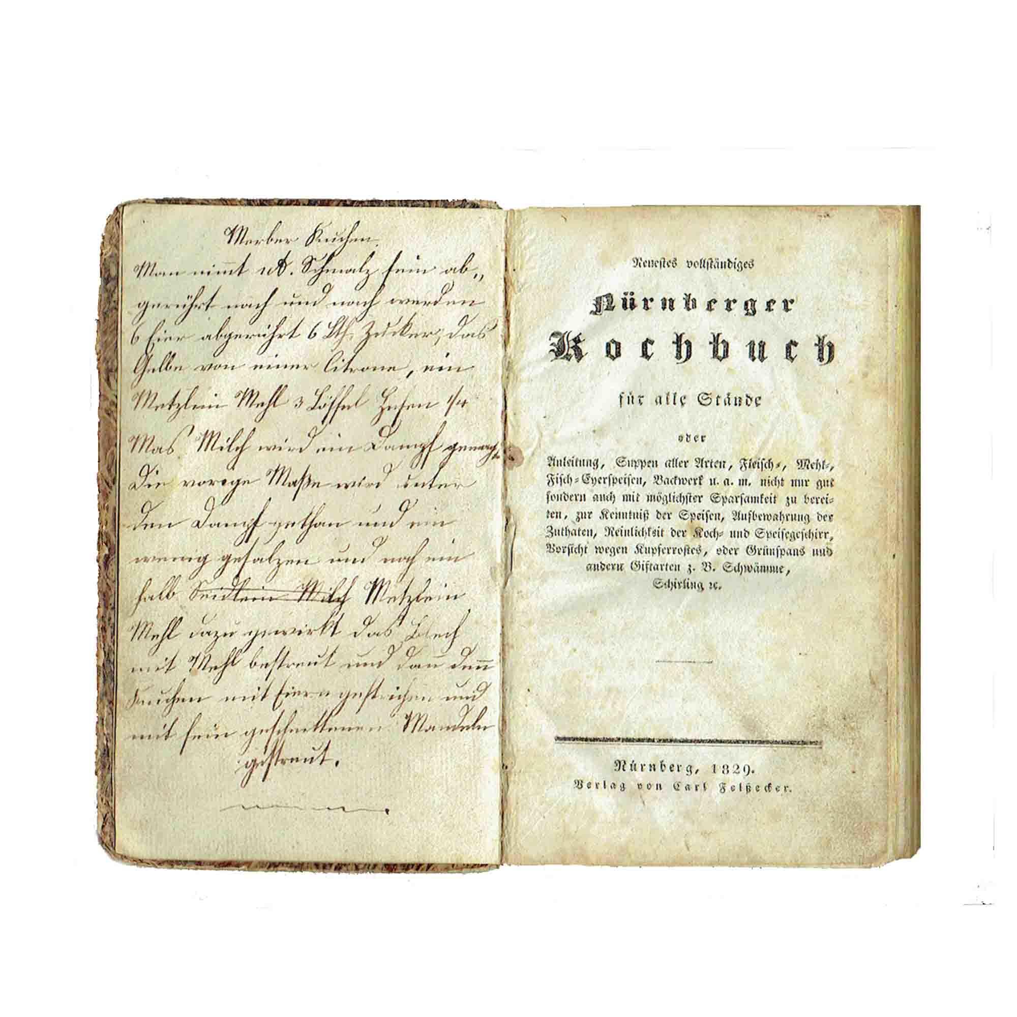 5424 Nürnberger Kochbuch 1829 Titel N