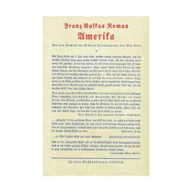 Kafka Amerika Verlagsprospekt 1928