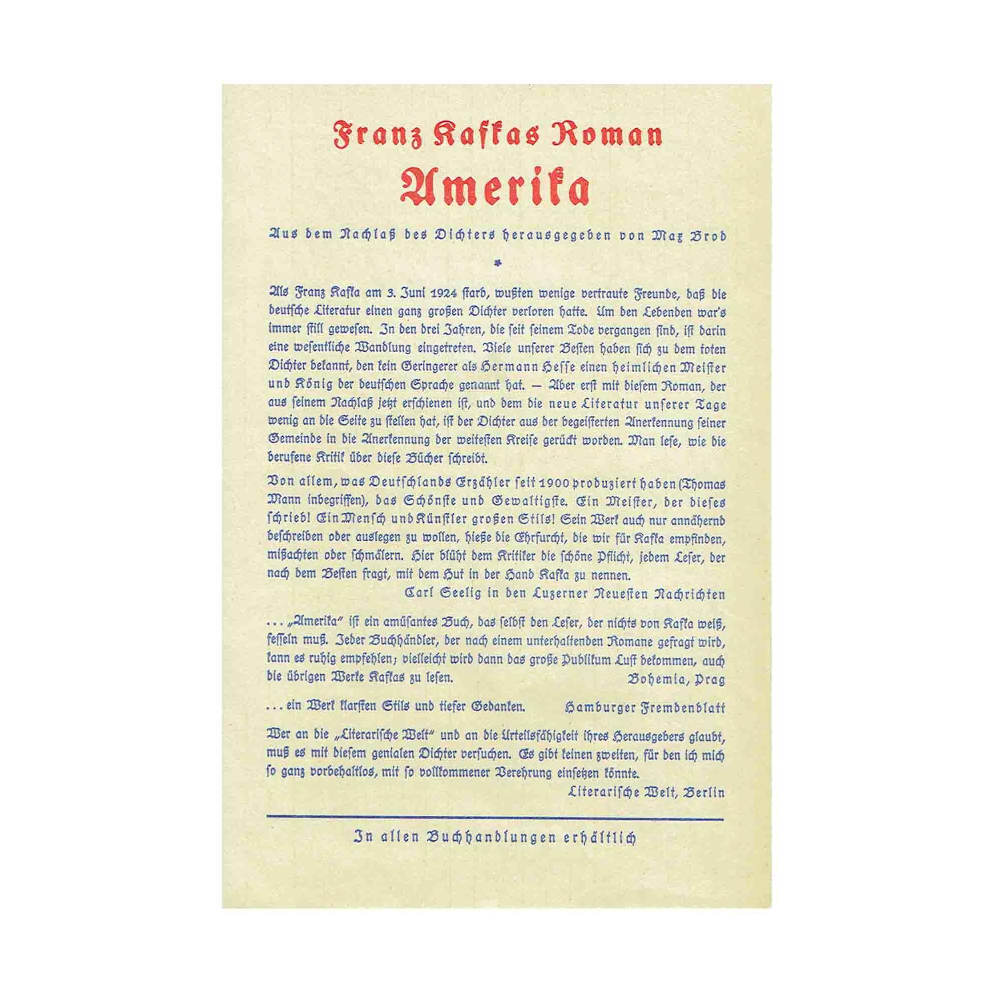 5442 Kafka Amerika Verlagsprospekt 1928 N