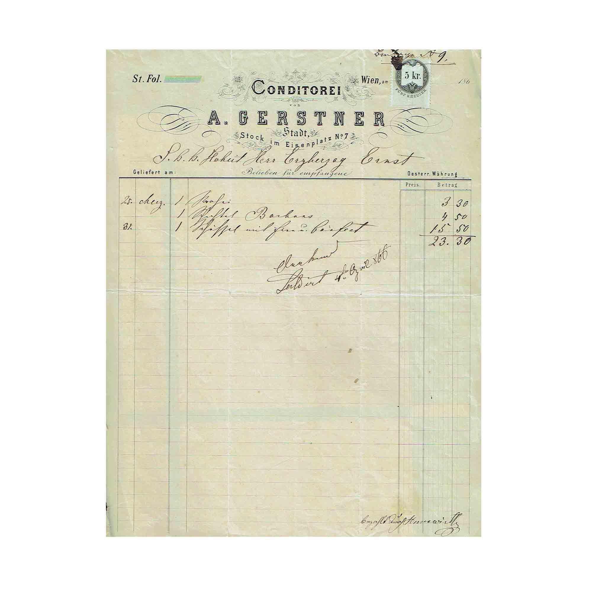 5434 Gerstner Erzherzog Ernst Rechnung 1866 N