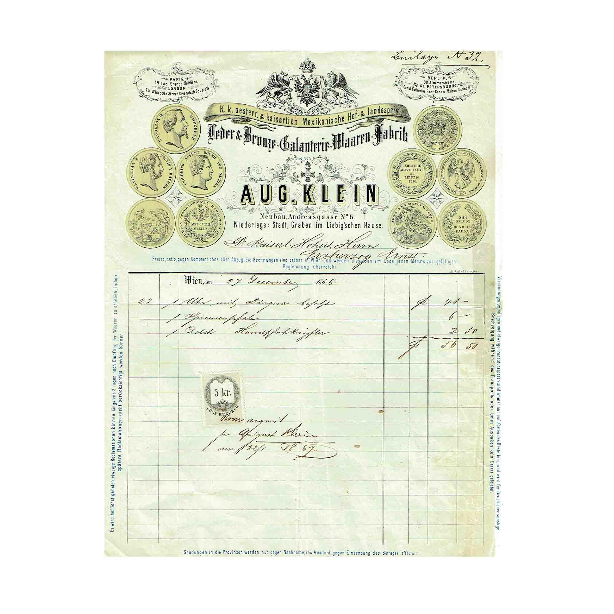 5435 Klein Erzherzog Ernst Rechnung 1866 N