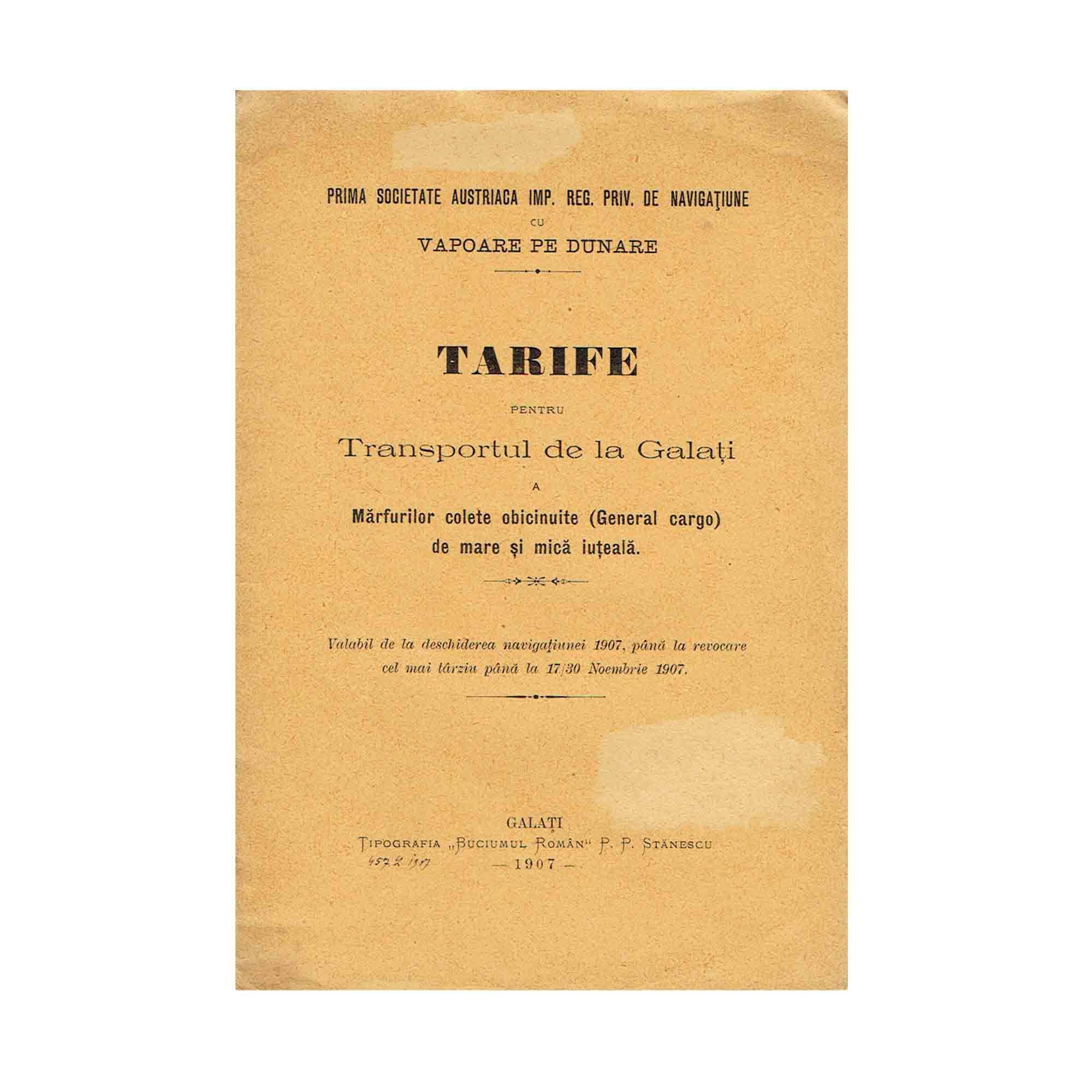 5455 DDSG Tarife Rumaenien 1907 Umschlag N