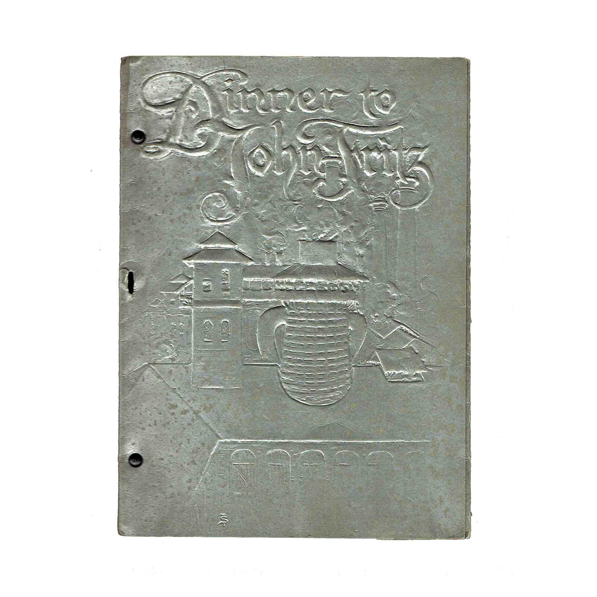 Fritz Sindelar Dinner menu 1902 Cover recto free N