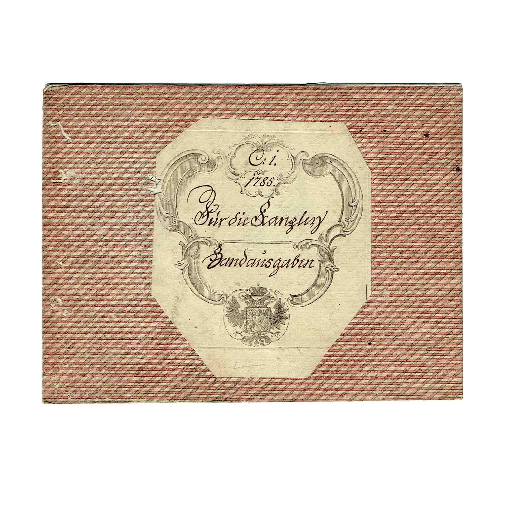 5543 Kassabuch Fuerst Paar Post Kanzlei 1785 Umschlag Wappen frei N