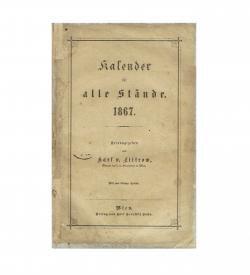 Littrow Weiss Kalender Astronomie 1867 Umschlag