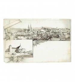 Wiener Neustadt Panorama Tusche 1870-1890 Militaerakademie Dom