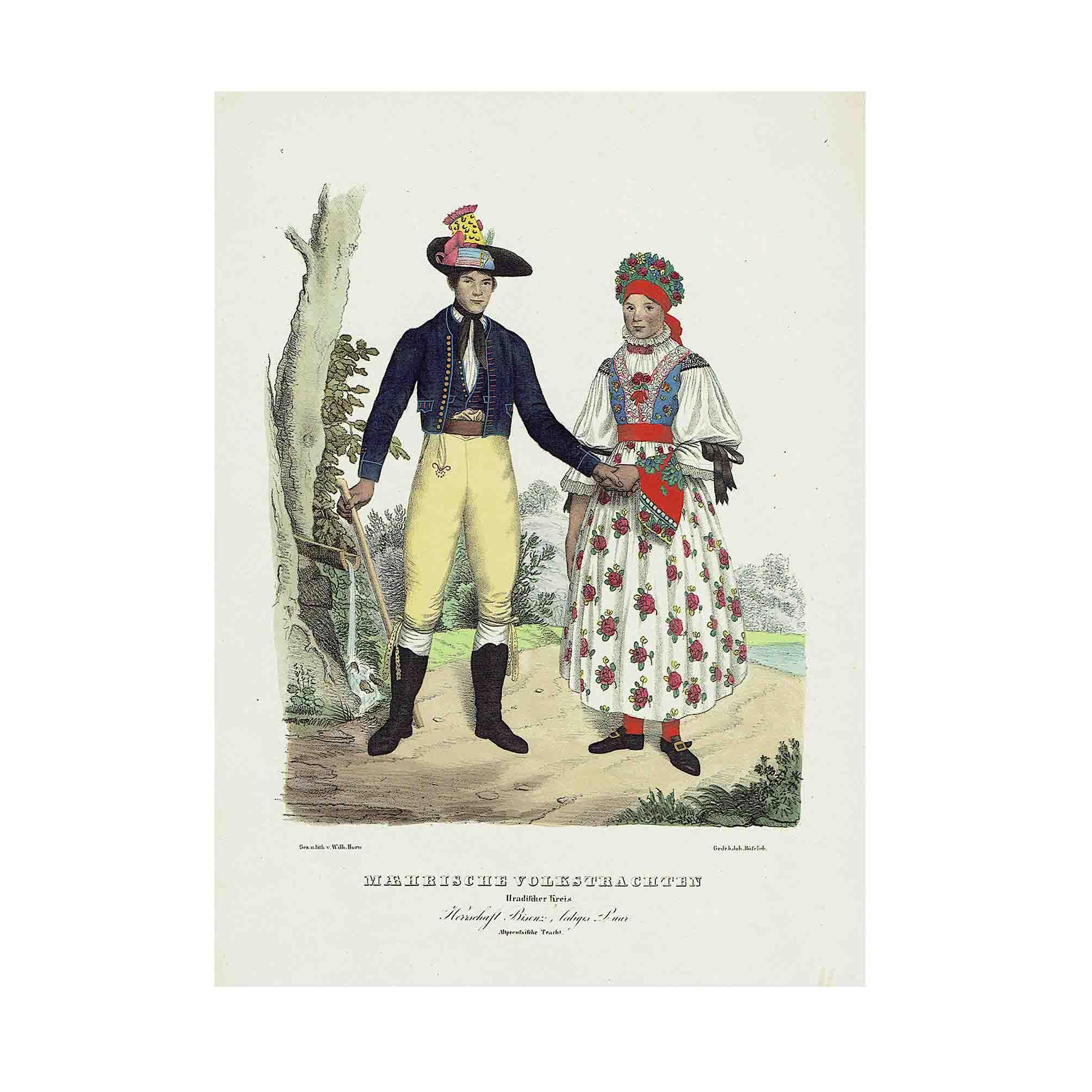 5573 Horn Maehrische Trachten 1837 Altpreussen N