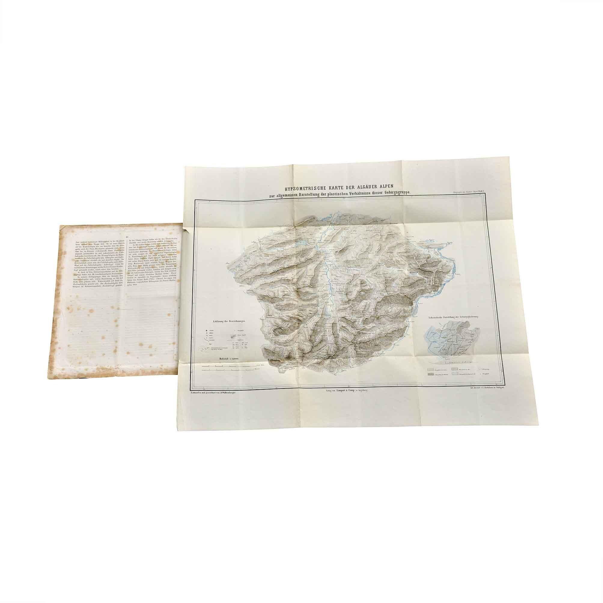 5625 Waltenberger Orographie Allgäuer Alpen 1872 Karte frei N