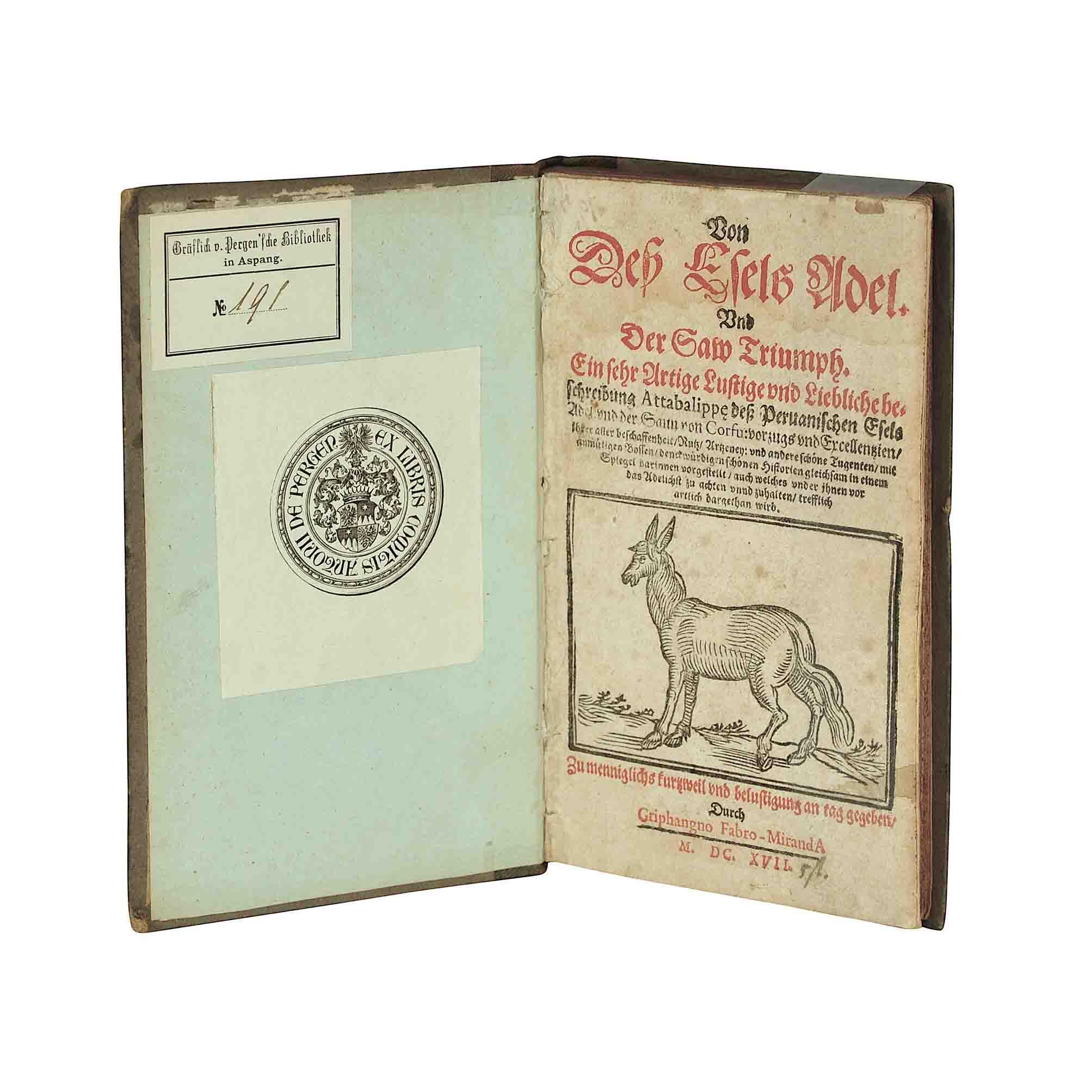 5574 Banchieri Messerschid Esel Adel 1617 Titel Ex Libris aufgestellt A N
