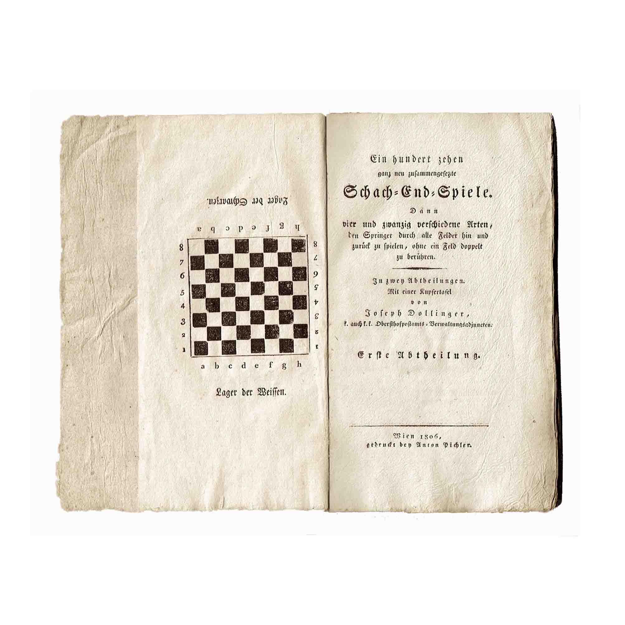5651 Dollinger Schach 1806 Titel Kupfer Schachbrett frei N