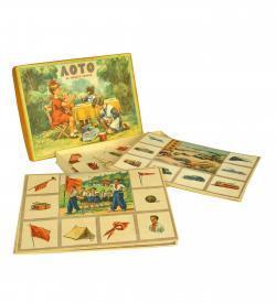 Sowjet Lotto Sprachen Kinder Spiel 1957 Schachtel Tafel offen