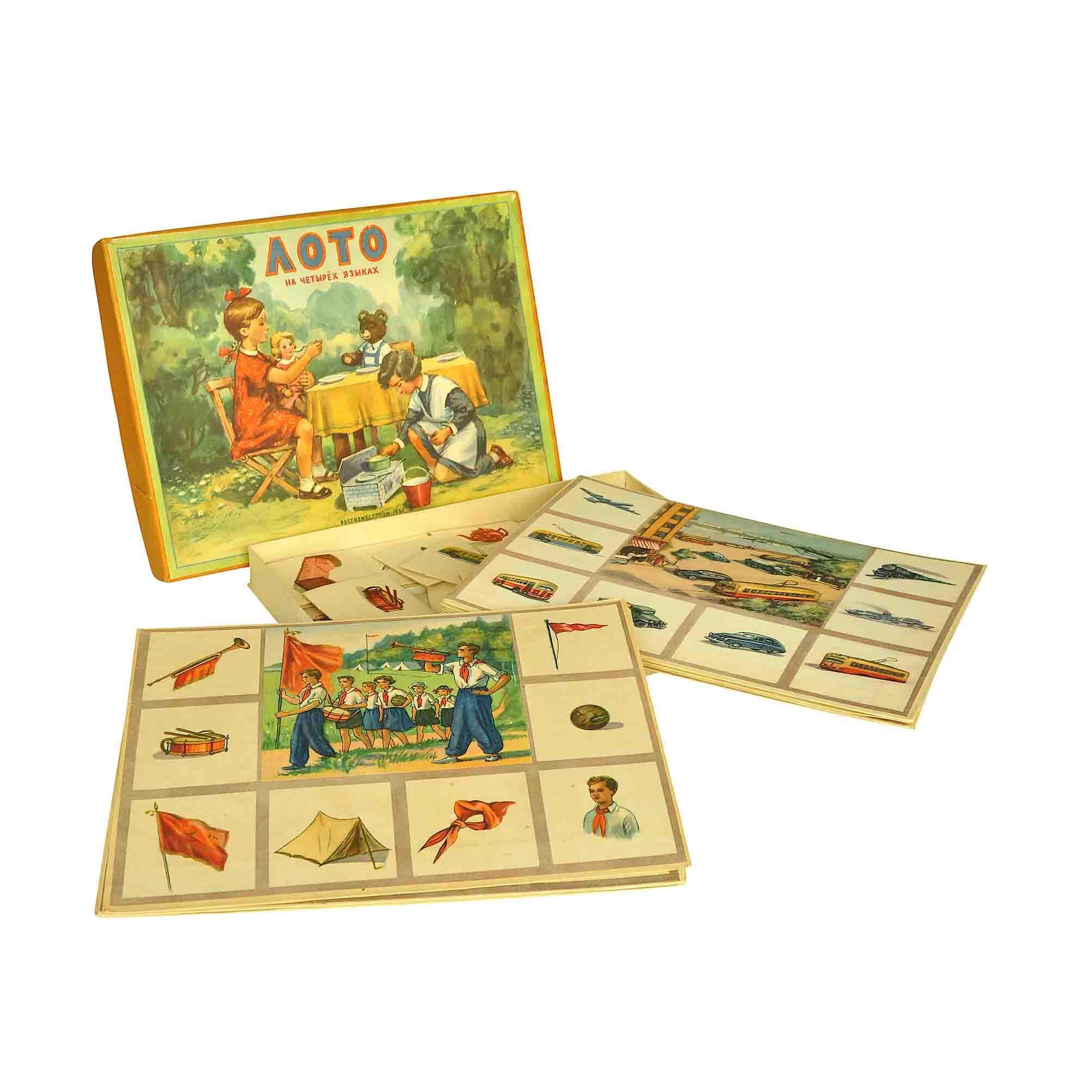 5638 Sowjet Lotto Sprachen Kinder Spiel 1957 Schachtel Tafel offen frei N