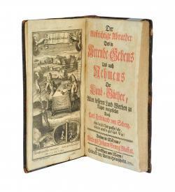 """""""Das Frontispiz zeigt eine allegorische Bildgeschichte, ähnlich einem Comic ausgeführt vom Frankfurter Kupferstecher Johann Kenckel."""""""