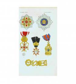 Umfangreiches Werk der Phaleristik, mit Orden und Ehrenzeichen, von Hand und mit Schablone koloriert, 1848