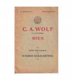 Reichlich mit detailgetreuen und in satten Farben klischierten Zeichnungen illustrierte Kataloge des Wiener K.u.k-Hoflieferanten für Gold- und Silberschmuck, C. A. Wolf.