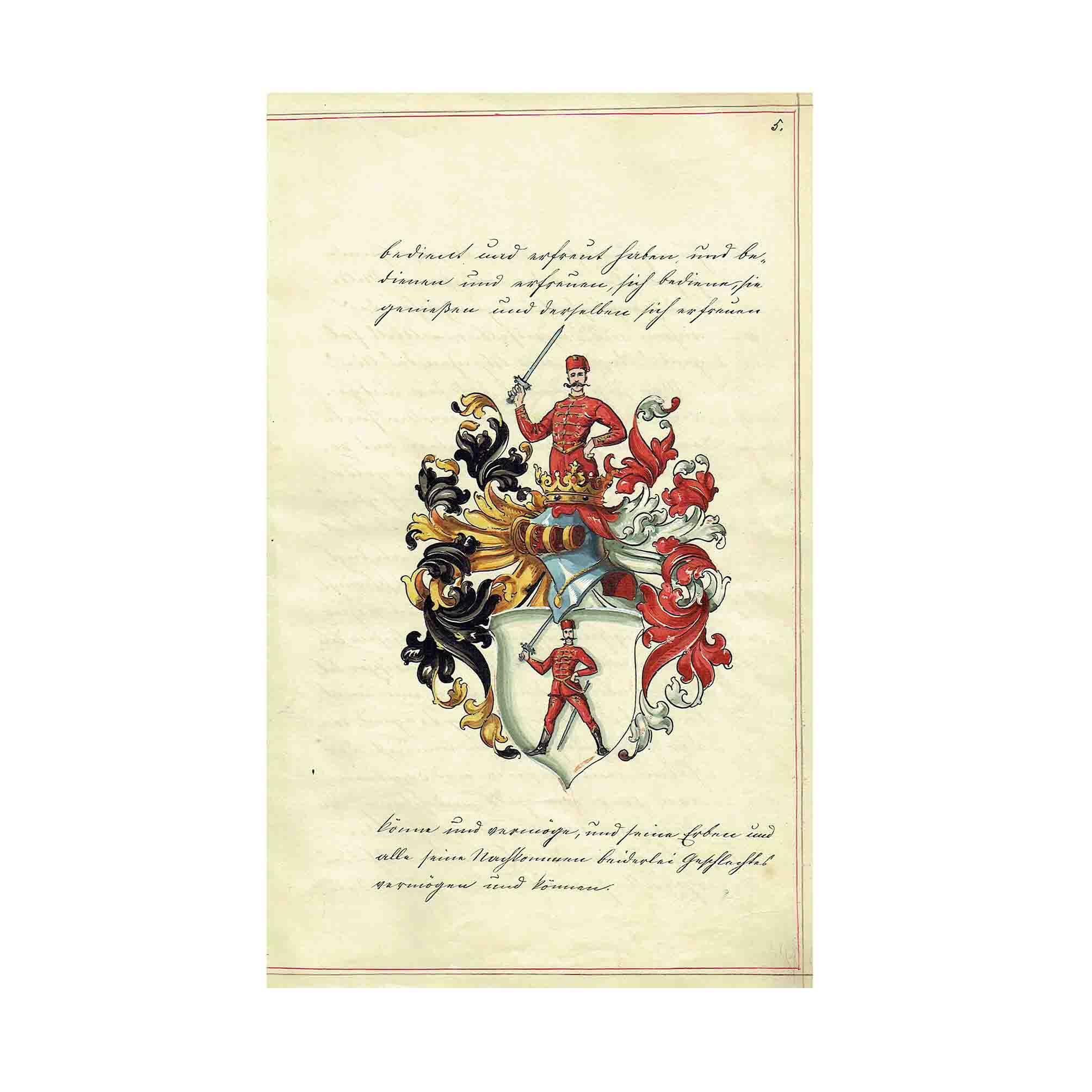 5673 Keszthely Adelsdiplom 1712 Uebersetzung Wappen N