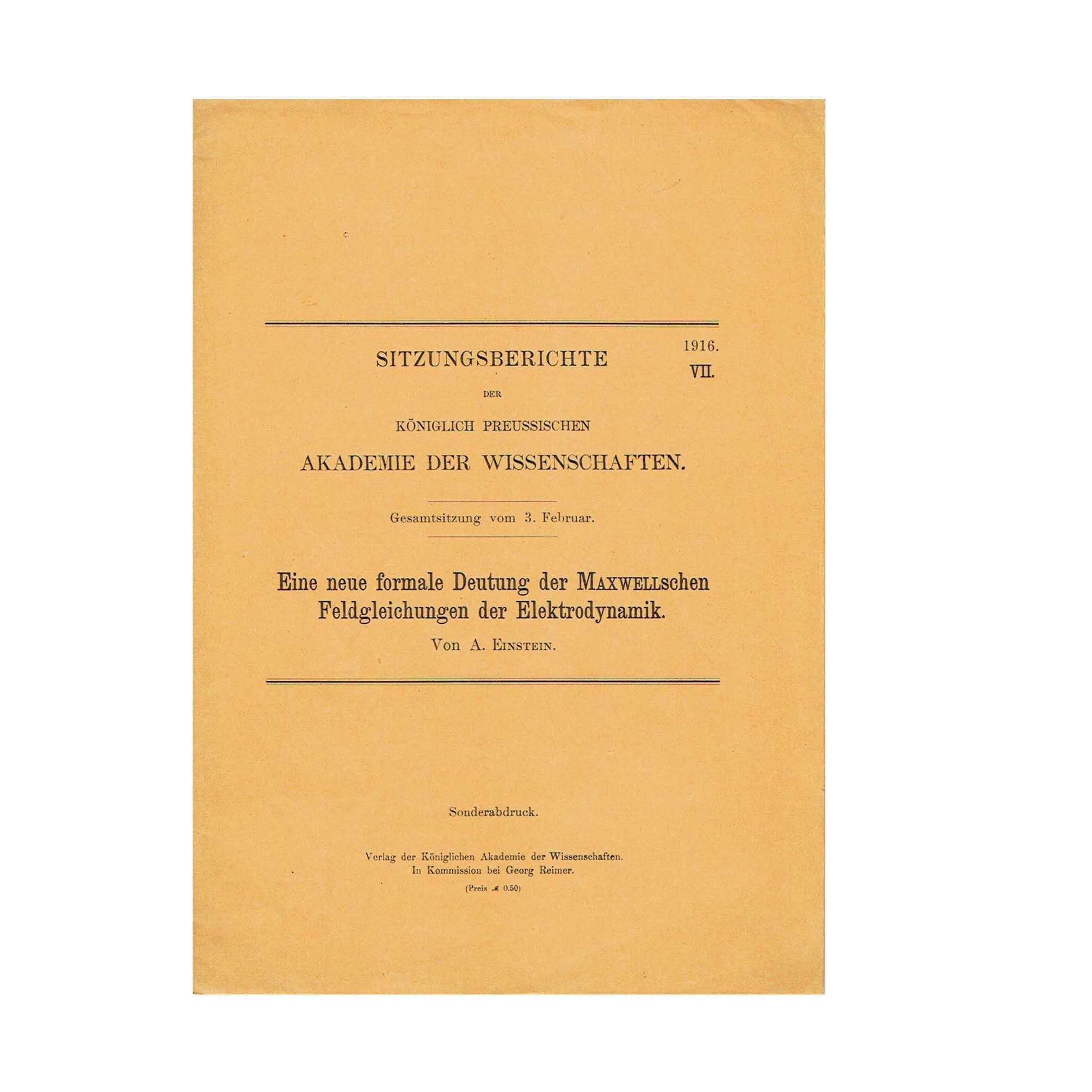 5713 Einstein Maxwell Akademie VII 1916 free SA Cover recto N