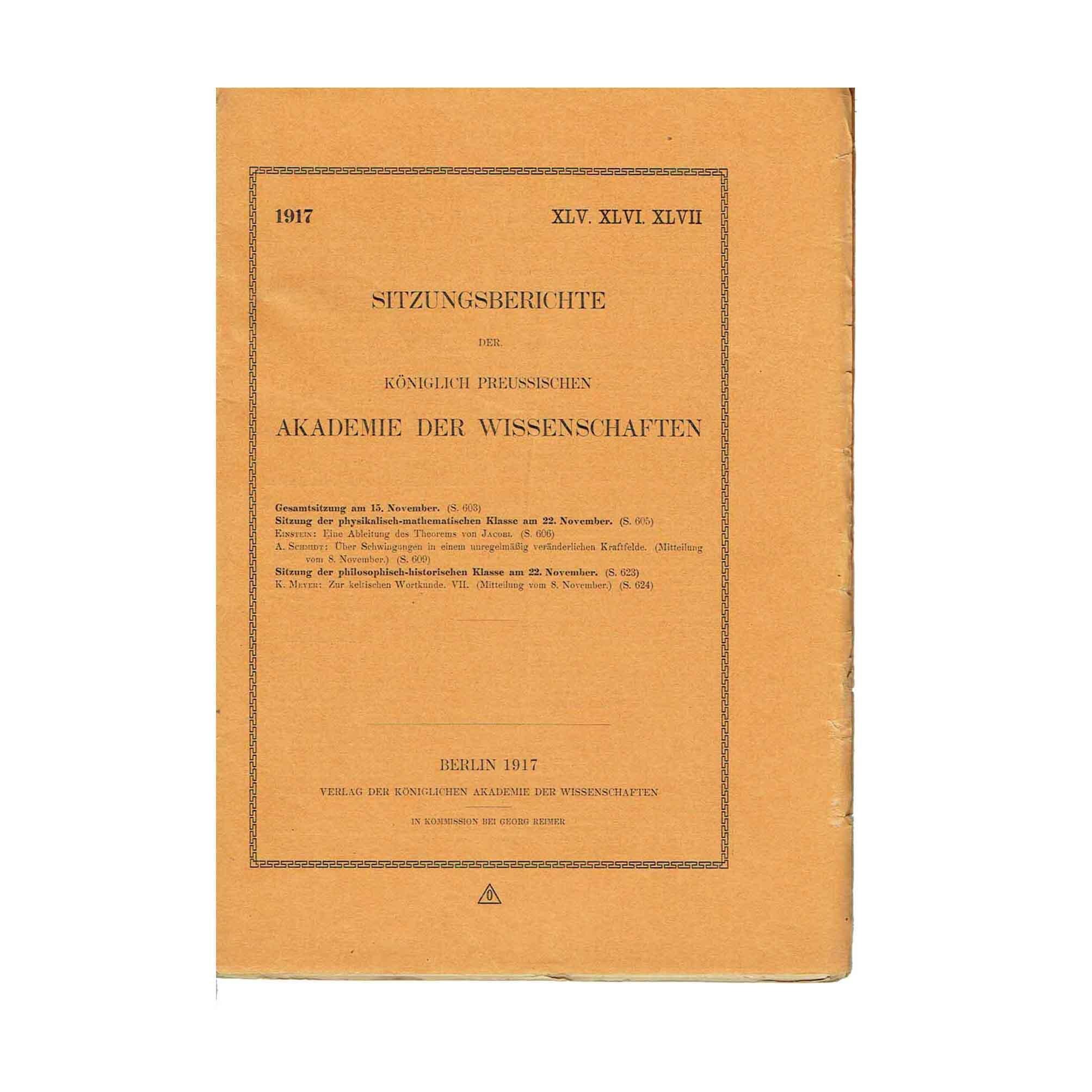 5718 Einstein Jacobi Akademie XLVI 1917 Cover recto free N