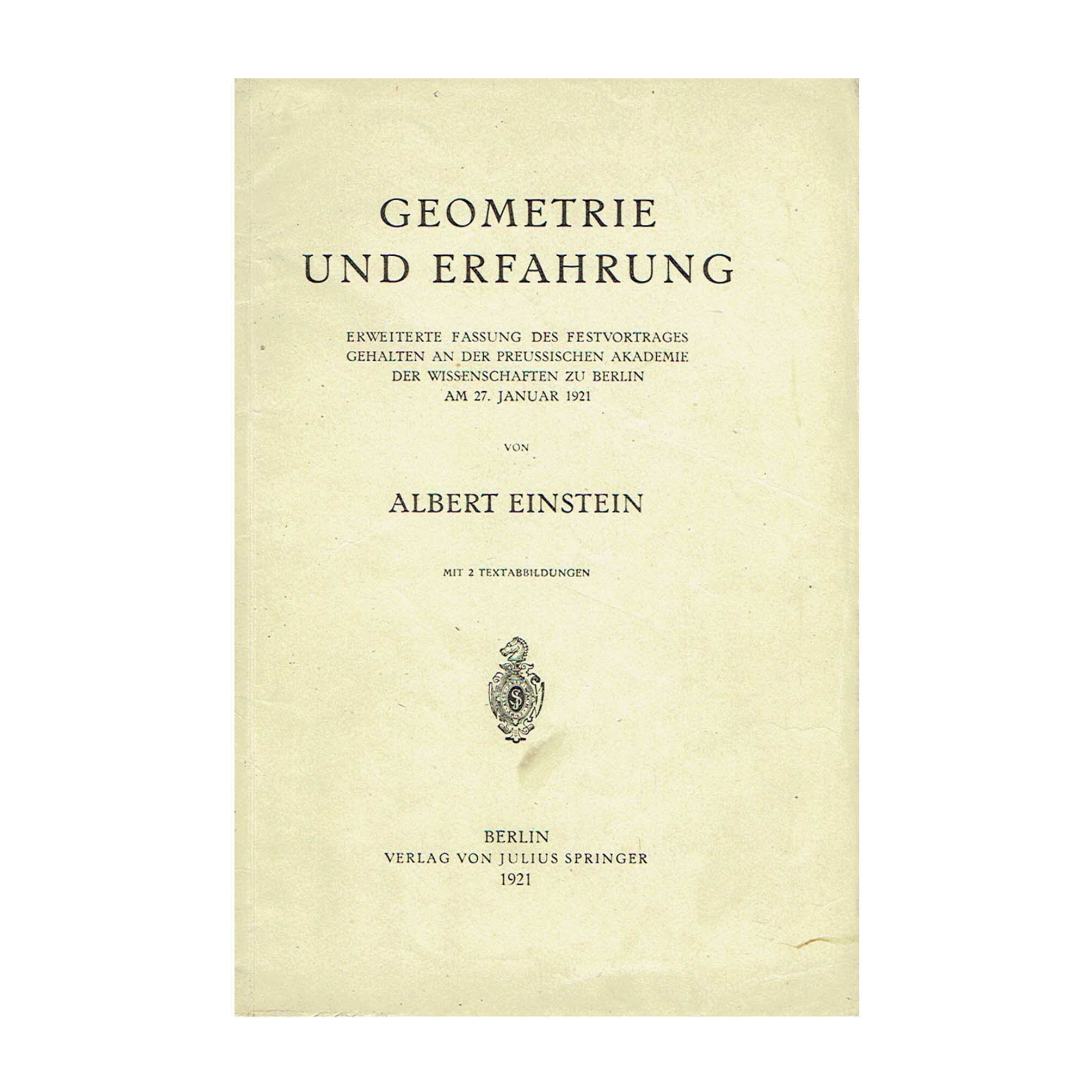 5725 Einstein Geometrie 1921 Cover recto N