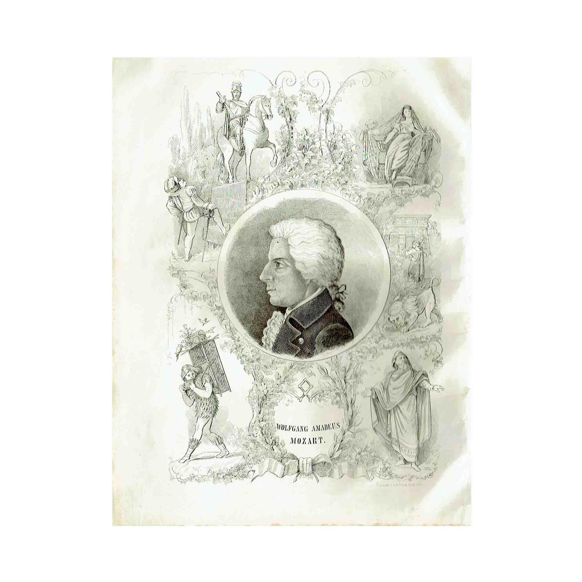 5805 Mozart Kayser Commemorative Album 1856 Portrait Mozart N