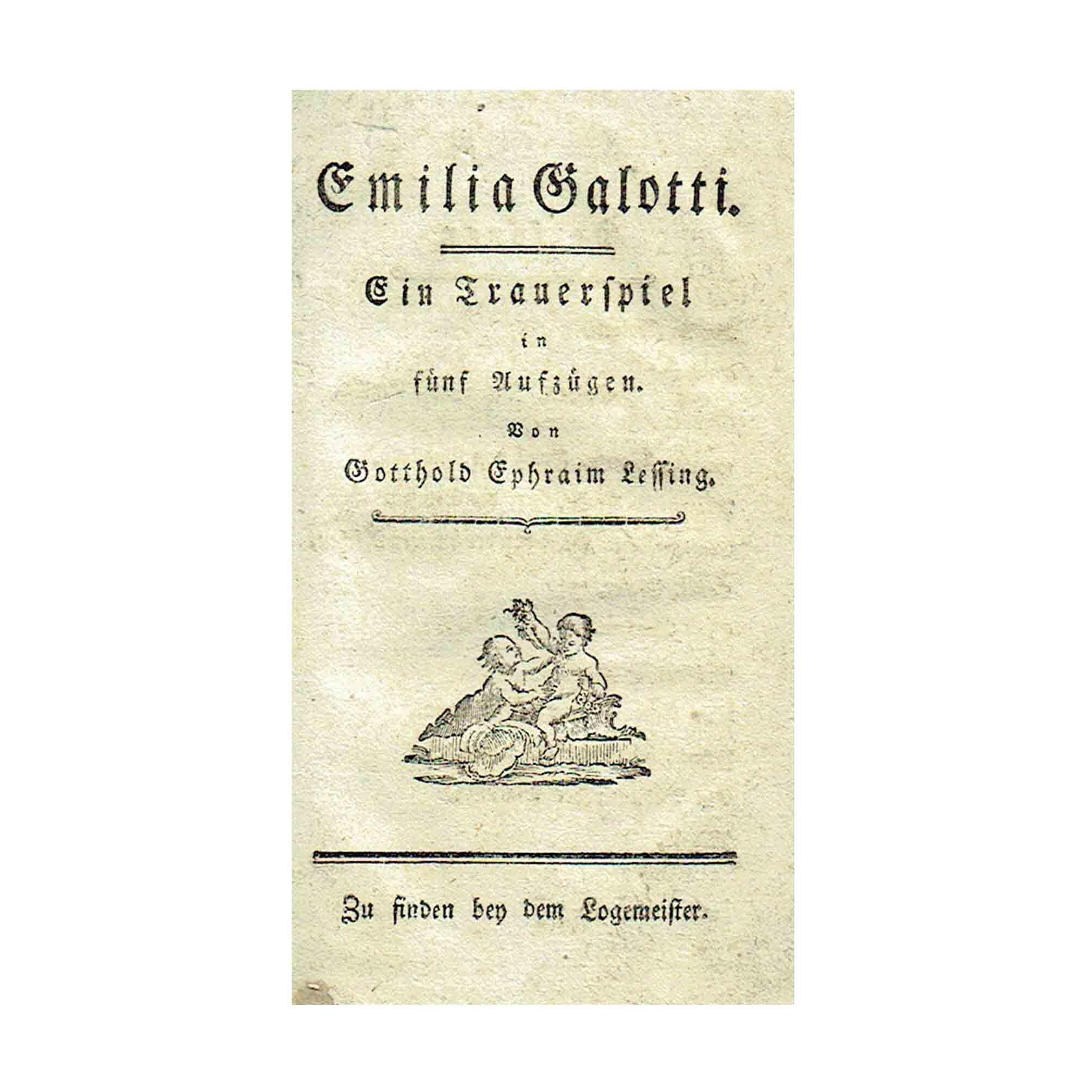 5811 Lessing Emilia Galotti Wien 1772 Titelblatt A N