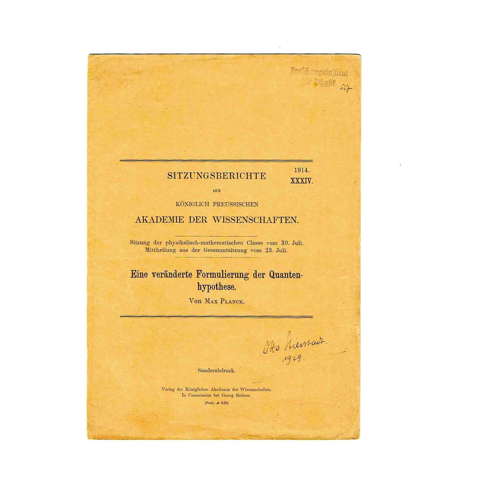 5817 Planck Verändert Quantenhypothese Offprint 1914 Umschlag recto free N