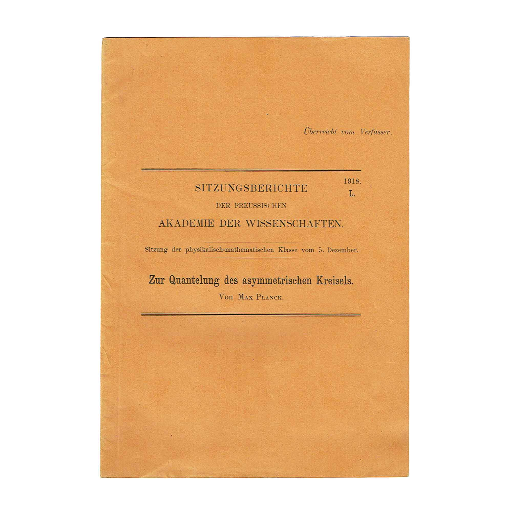 5858 Planck Quantelung Presentation Offprint 1918 Cover recto free N