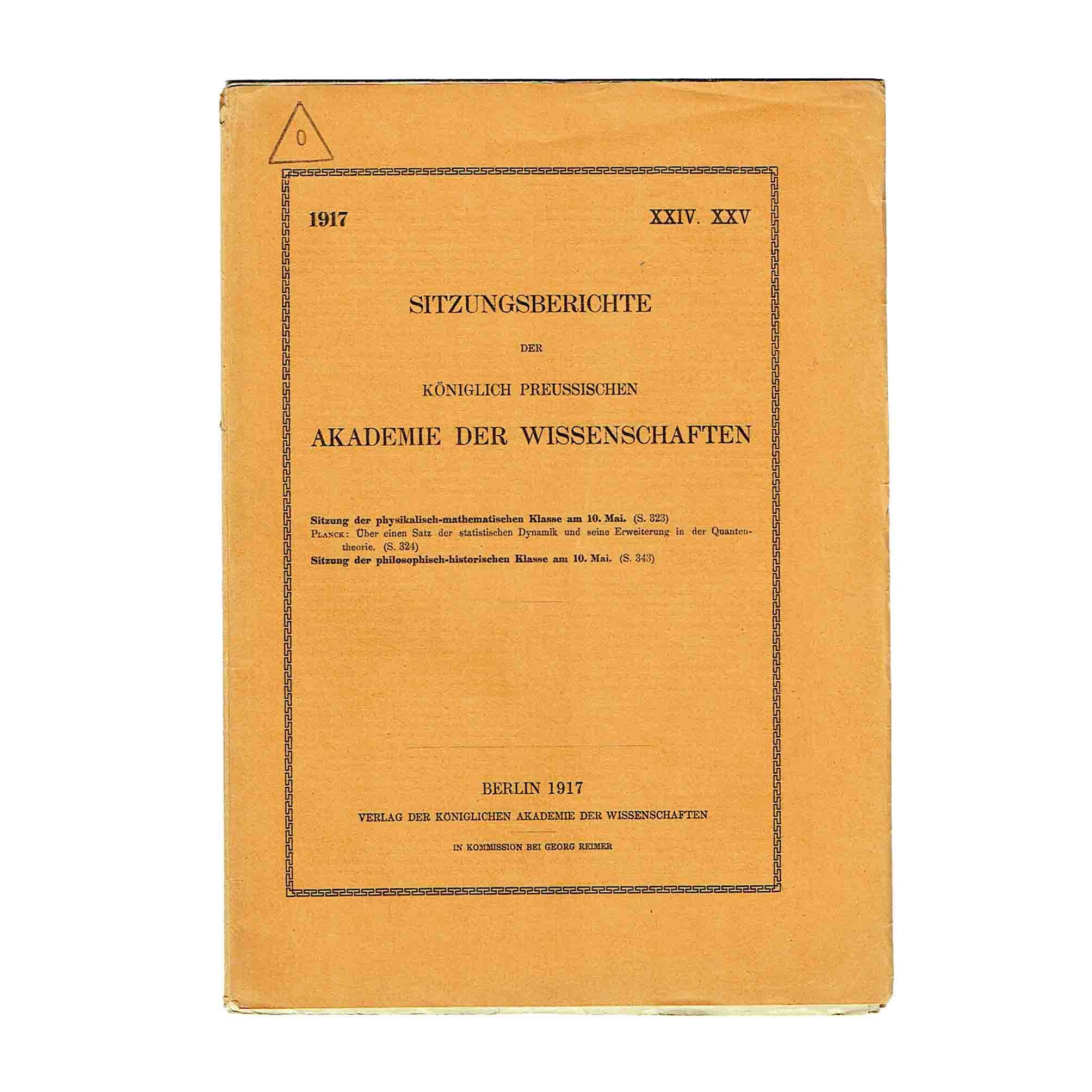 5812K Planck Satz Dynamik Quantentheorie 1917 Cover recto A N