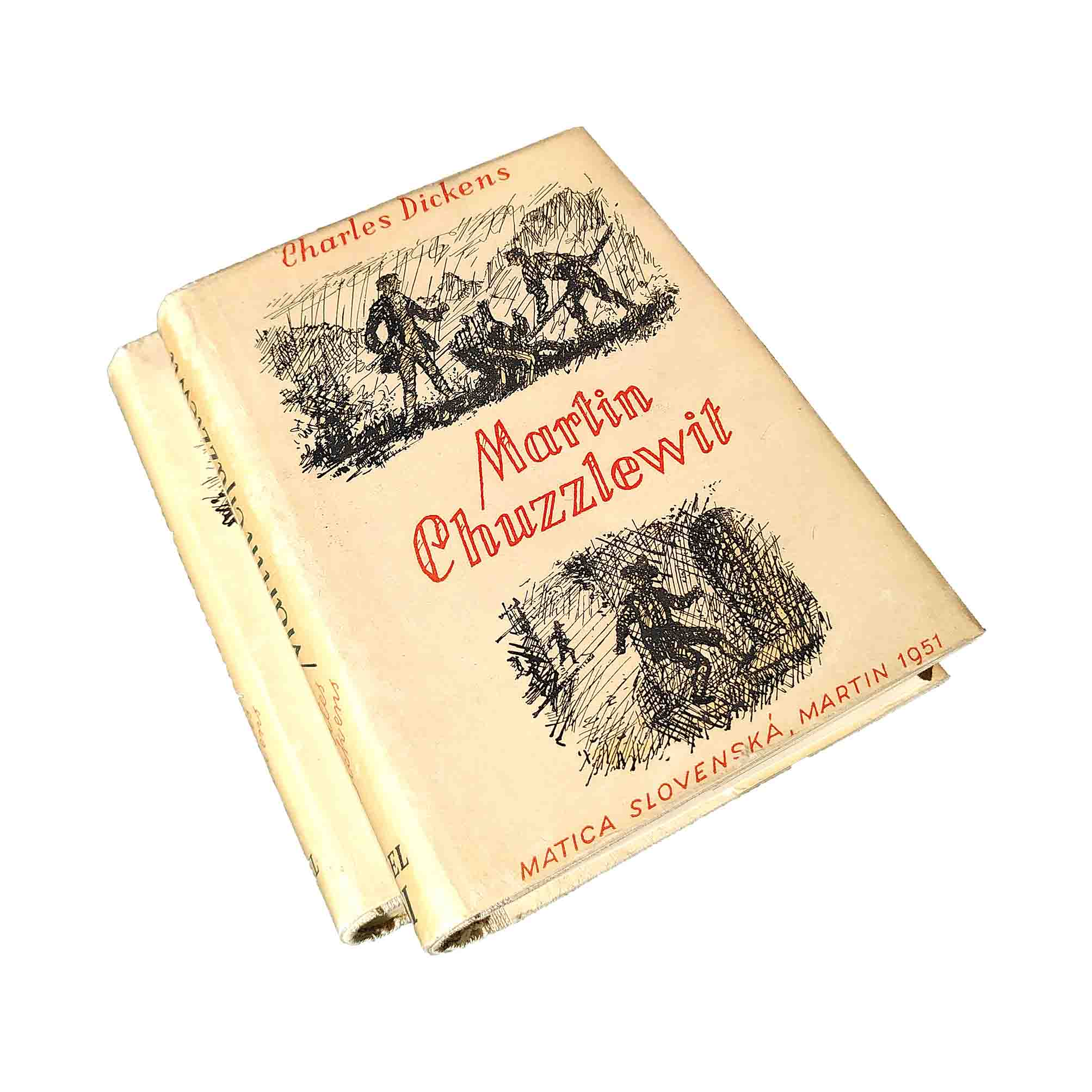 5917 Dickens Chuzzlewit Slovak First Edition 1951 Dust Jackets free N