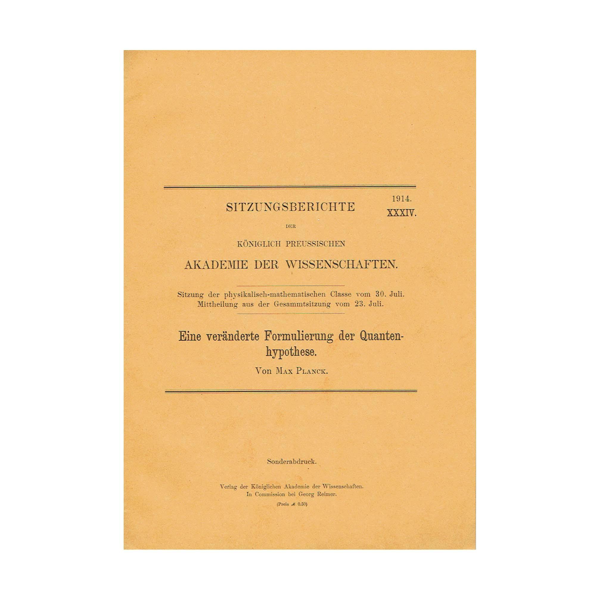 5816K Planck Veränderte Quantenhypothese 1914 Front Cover N