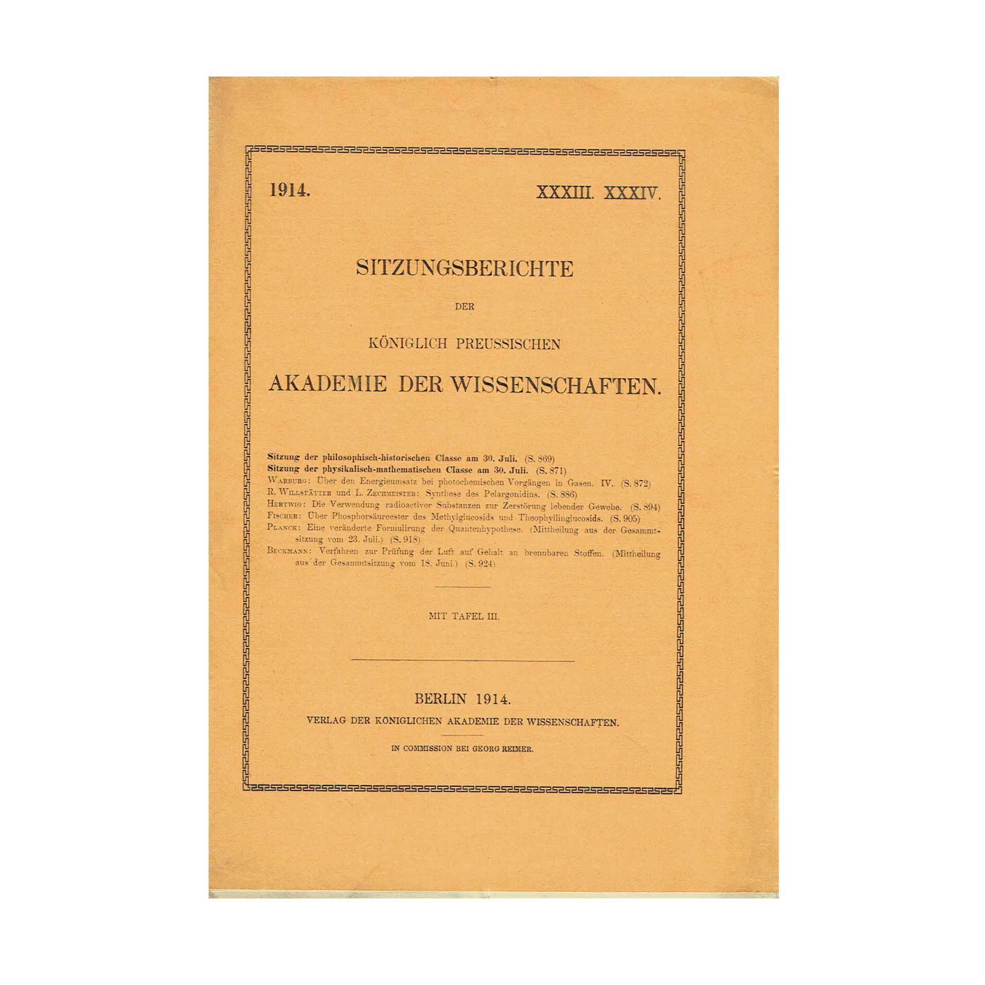 5818K Planck Veränderte Quantenhypothese First Separate 1914 Front Cover N