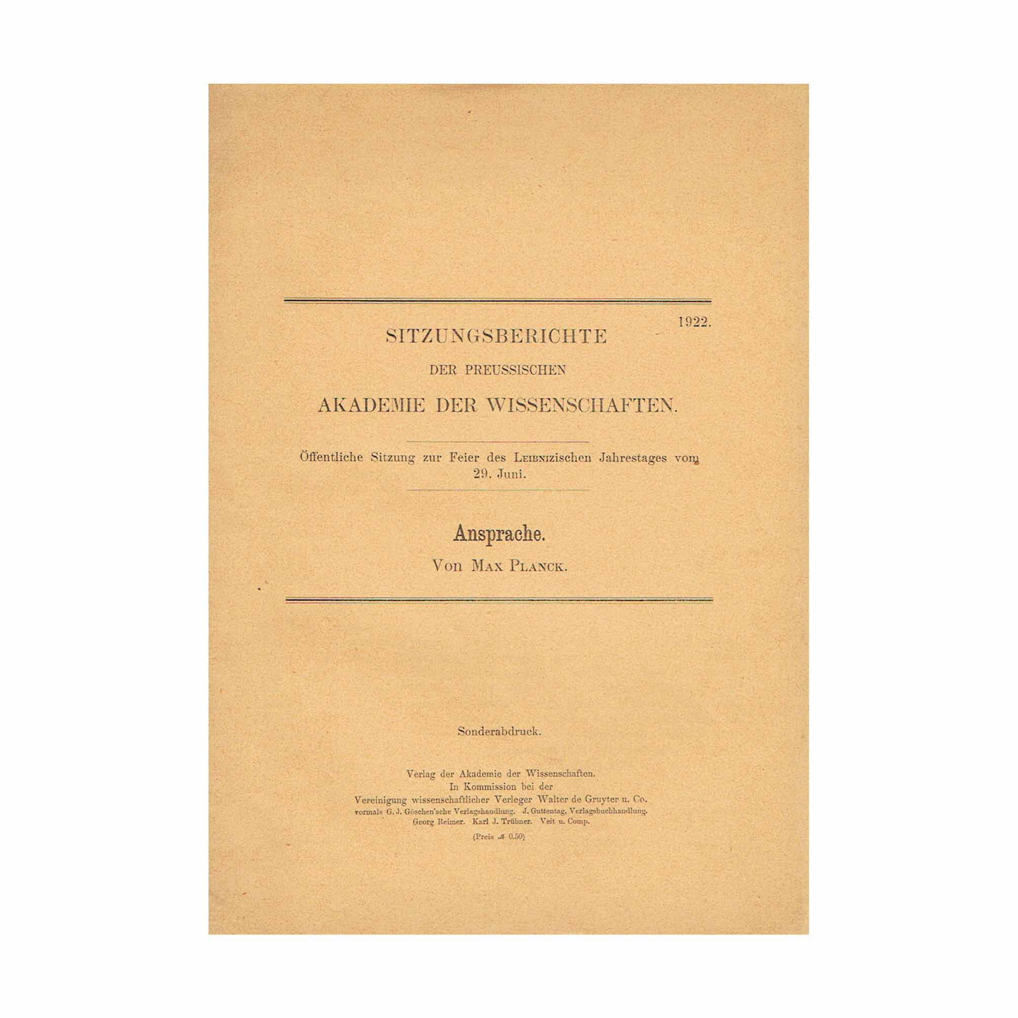 5822K Planck Ansprache Leipzig First Offprint 1922 Front Cover N