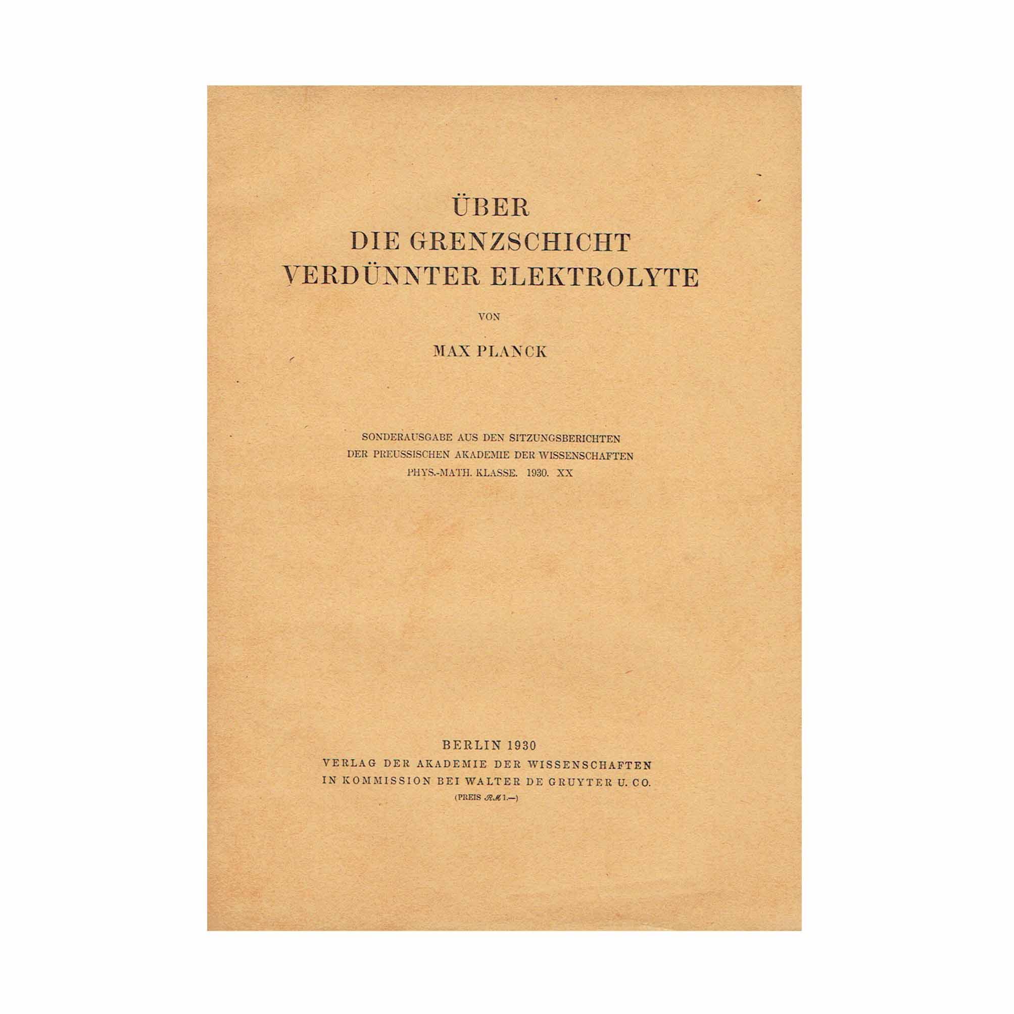 5824K Planck Grenzschicht Elektrolyte 1930 1 Front Cover N