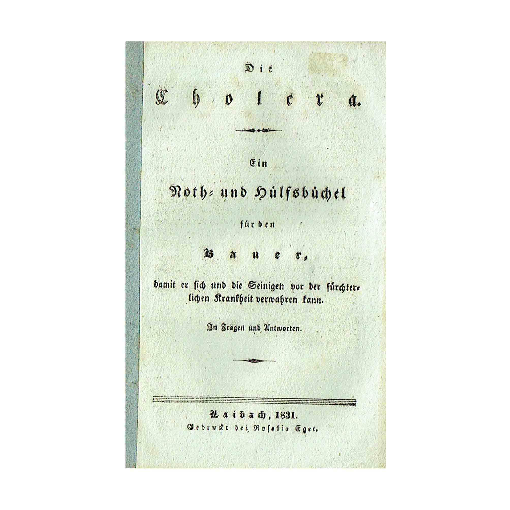 5928 Potocnik Cholera Krain 1831 Titel N