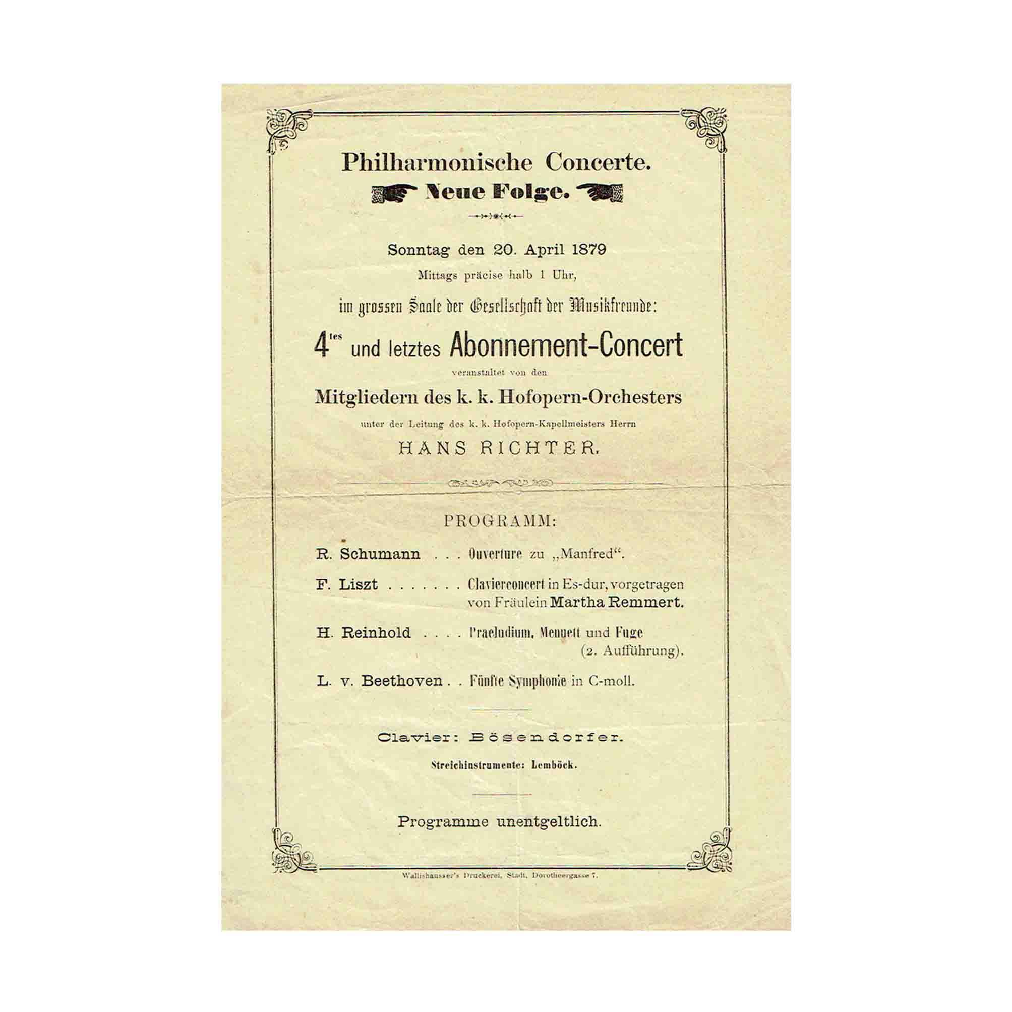 5480 Programmblatt Musikverein Konzert Musikverein 20. April 1879 A N