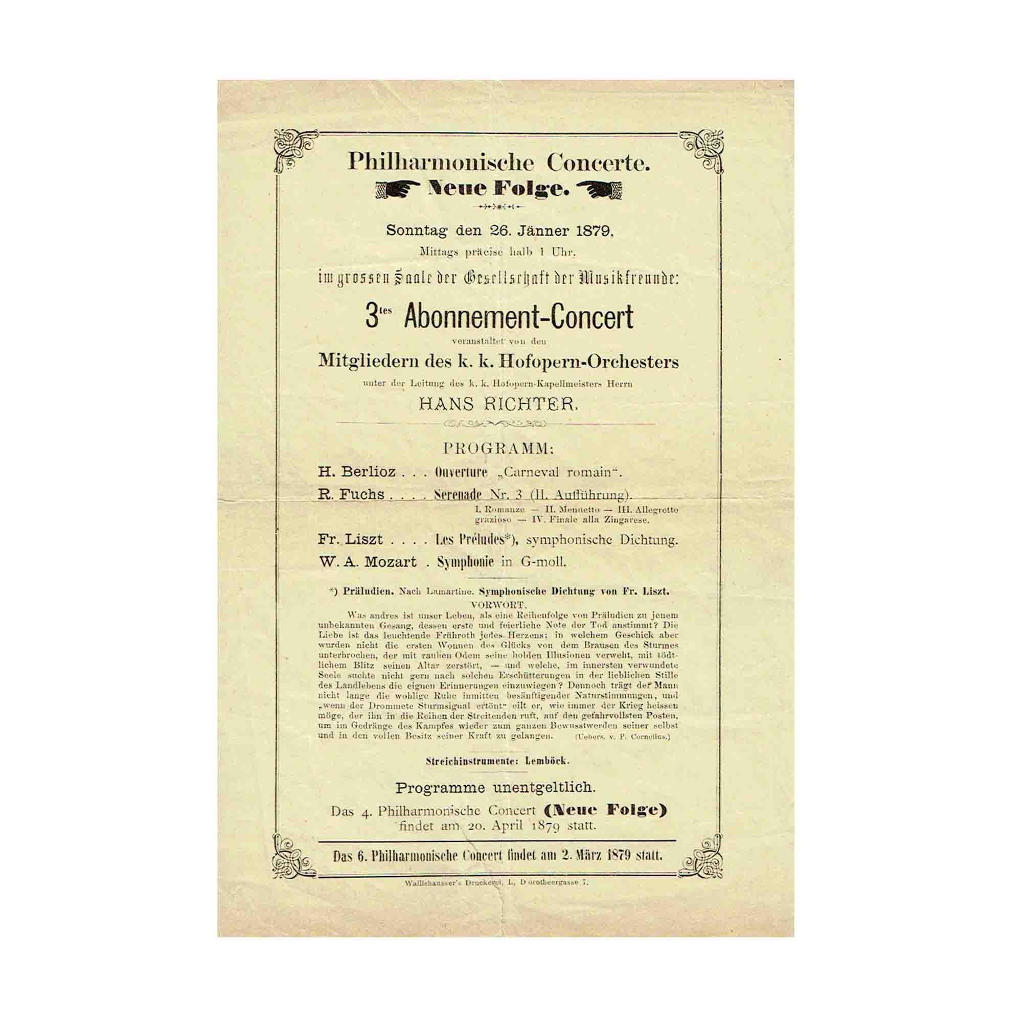 5481 Programmblatt Musikverein Konzert Musikverein 26. Jänner 1879 N