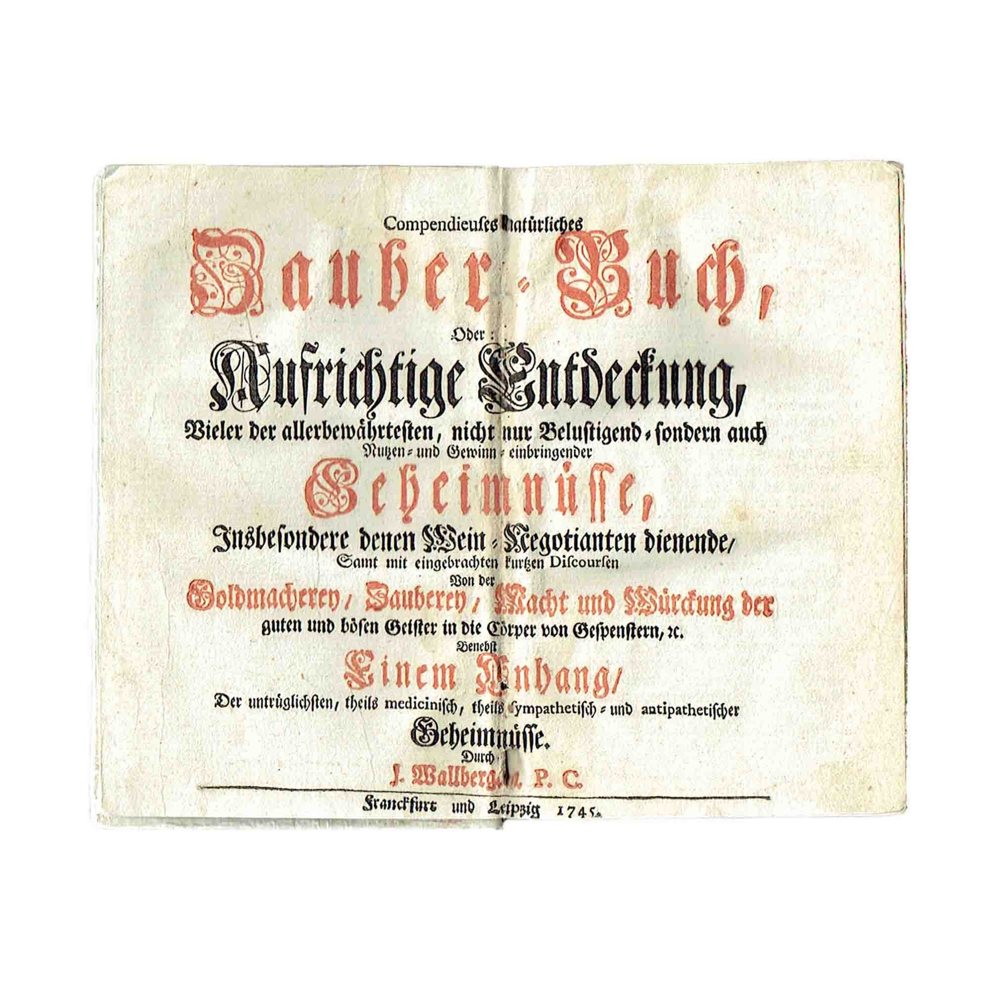 5958 Wallberg Zauber-Buch 1745 Title A N