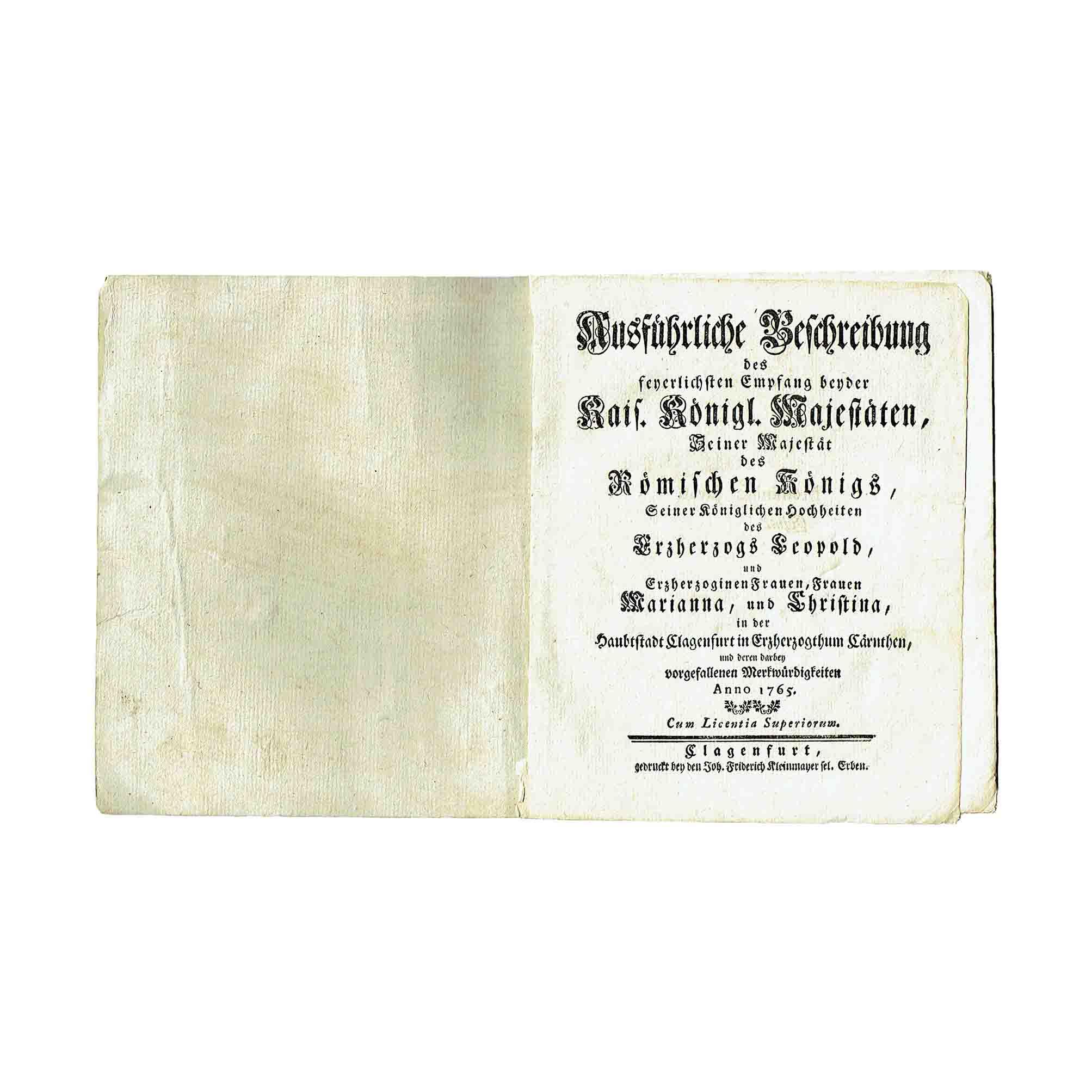 5970K Werffenstein Beschreibung Maria Theresia Klagenfurt 1765 Titelblatt frei N