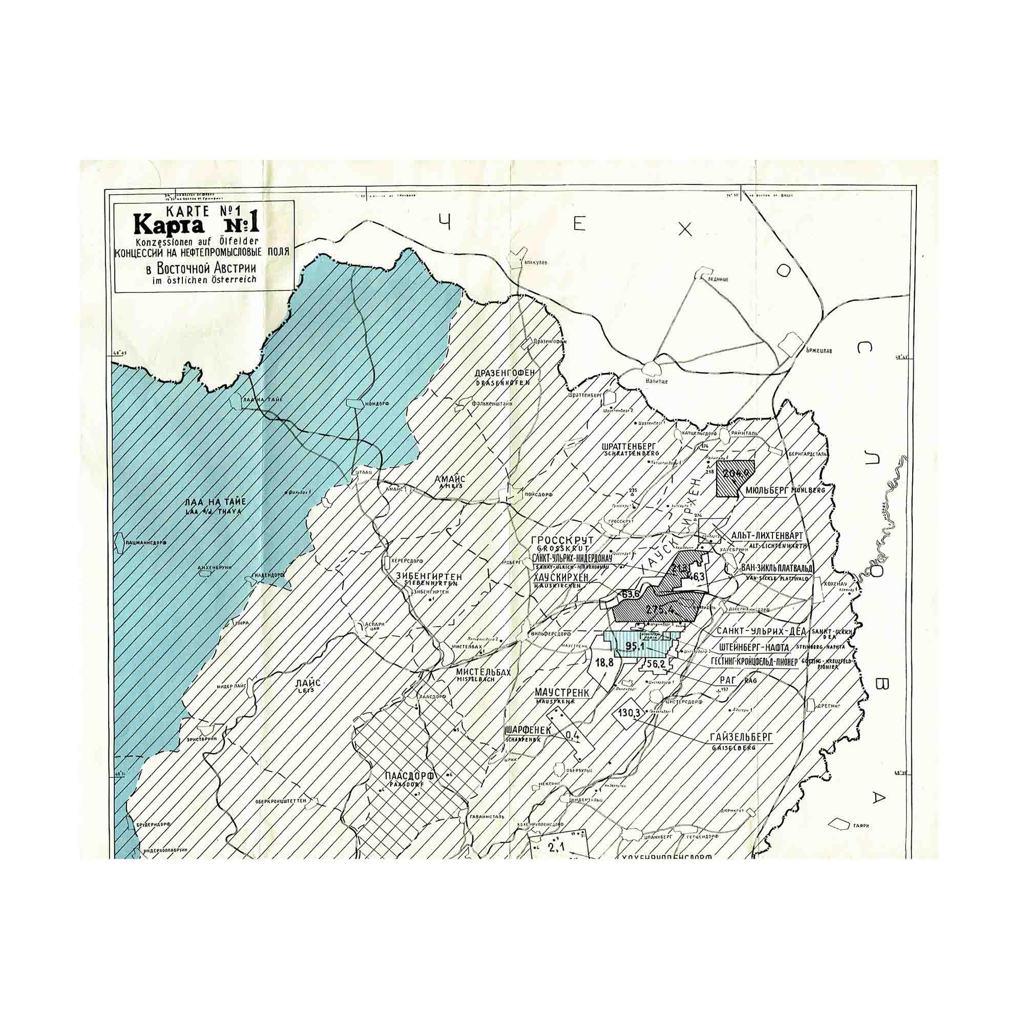 5980 Karte Sowjet Ölfelder Niederösterreich 1948 Ausschnitt 1 N
