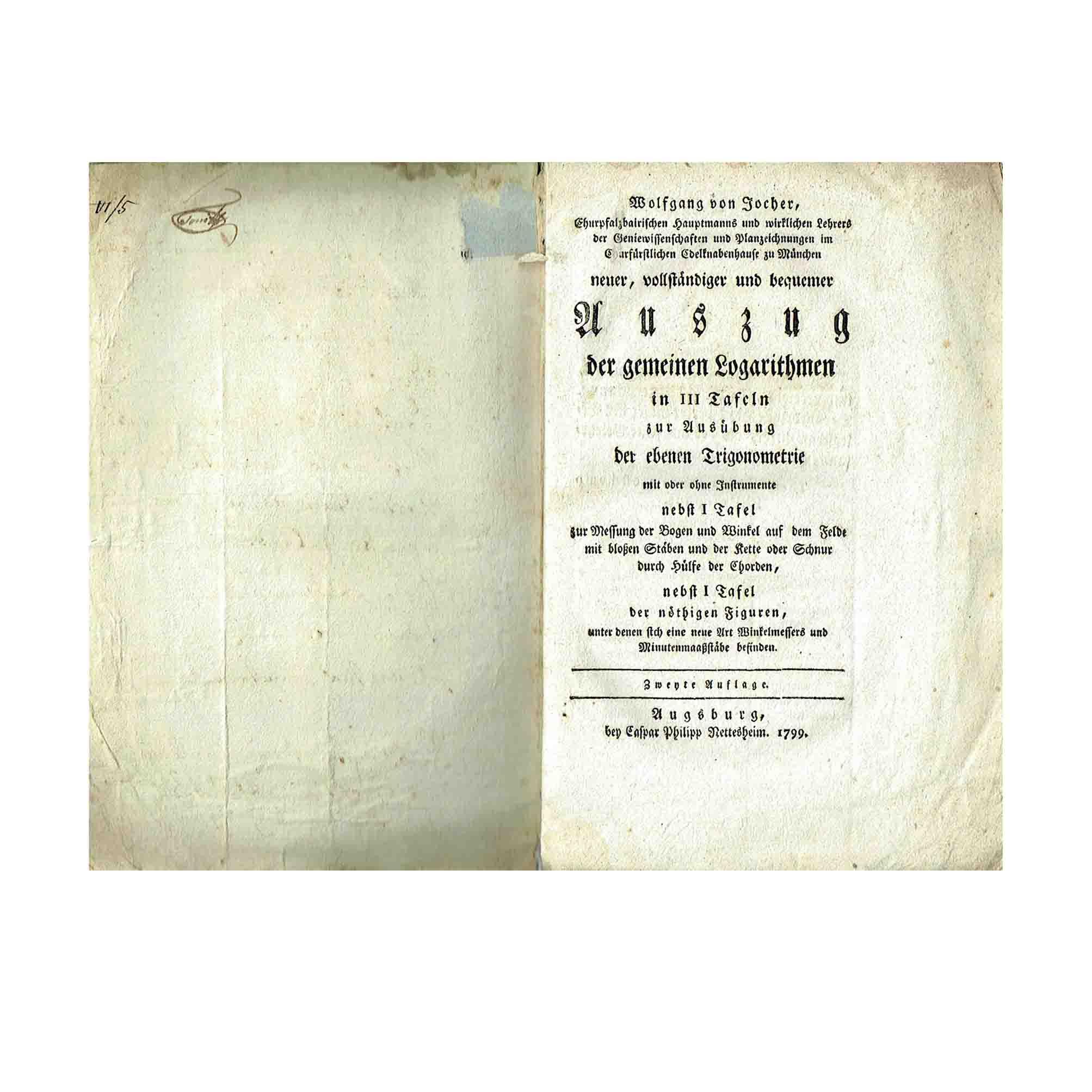 5981 Jocher Logarithmen 1799 Titelblatt N