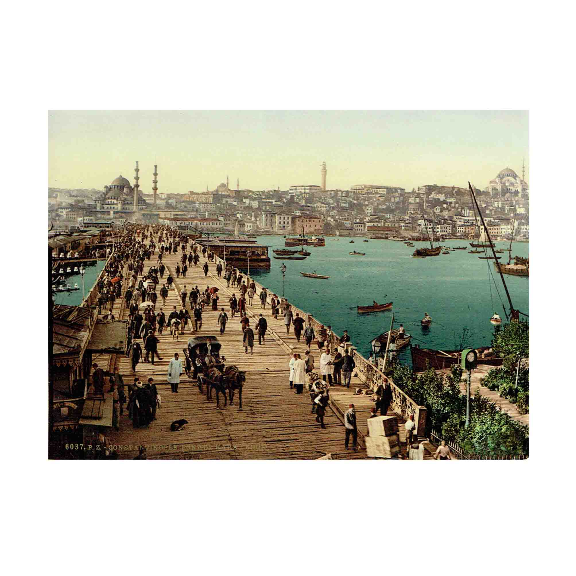 5984 Set 21 Photochrom Constantinople 6037 Kara-Keui Galata bridge Constantinople 1890 1900 N
