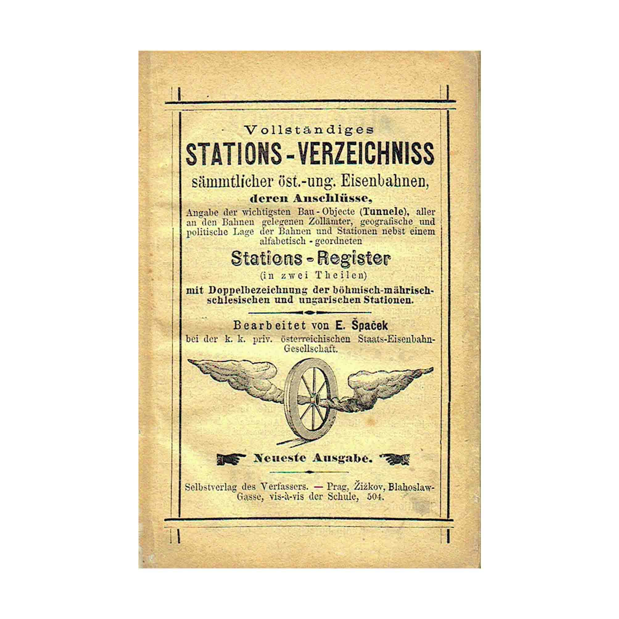 6014 Spacek Stations-Verzeichnis Eisenbahn 1876 Umschlag N