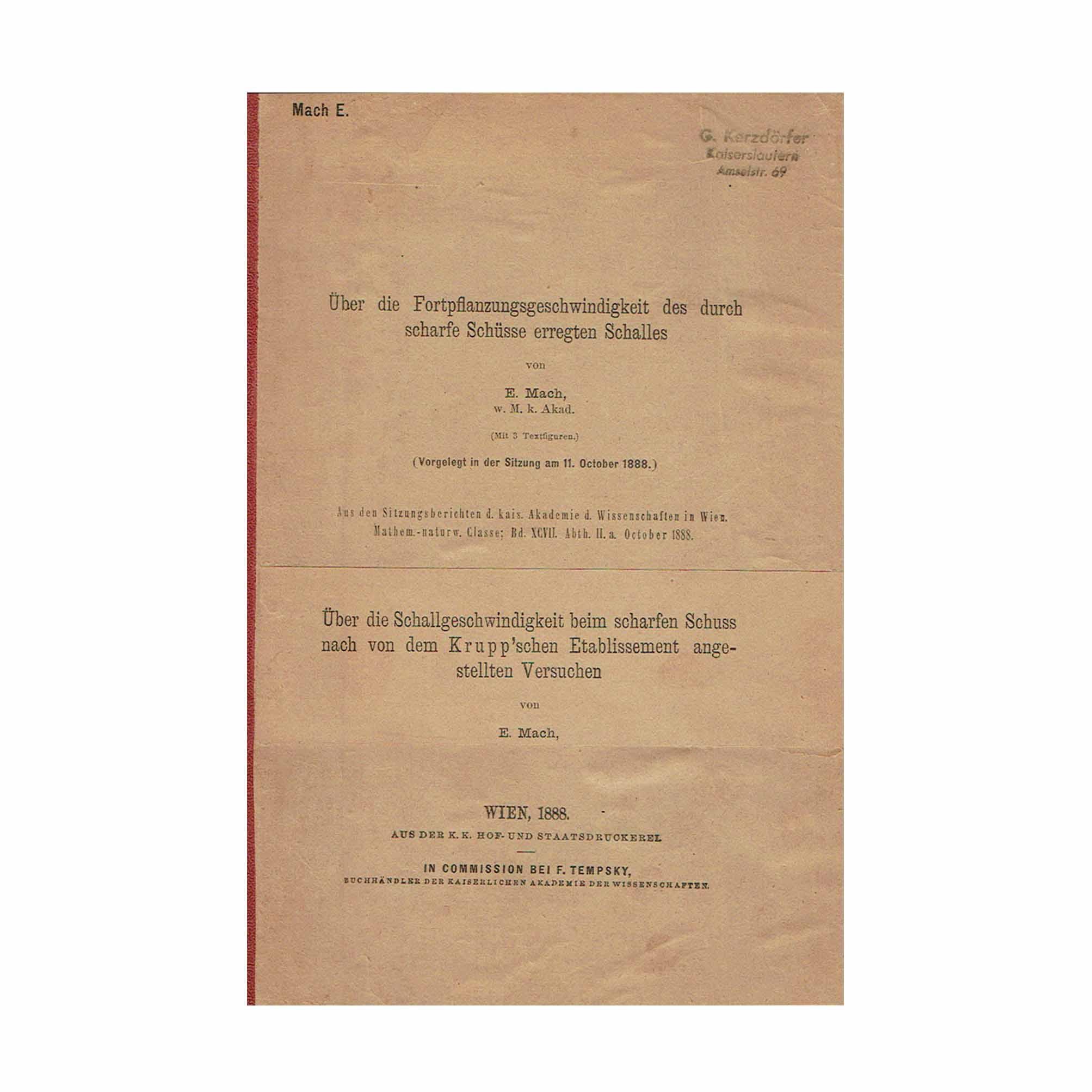 6026 Mach Schuss Schall Offprint 1888 1889 Cover front N